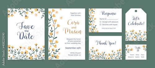 Fototapeta Set of vertical and horizontal card templates and labels with floral border and place for text