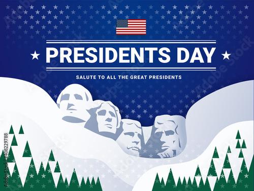 Obraz na płótnie Presidents Day USA Rushmore illustration background and lettering - dark blue ba