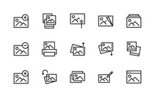 Set Of Photo Vector Linear Icons. Photograph Management. Contains Such Icons As Enhance Image, Edit, Print, Rotation, Image And More. Isolated Collection Of Photography For Websites Icon And Mobile.
