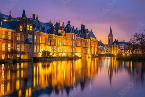 Fototapety, obrazy: Binnenhof castle (Dutch Parliament) cityscape downtown skyline of  Hague in Netherlands