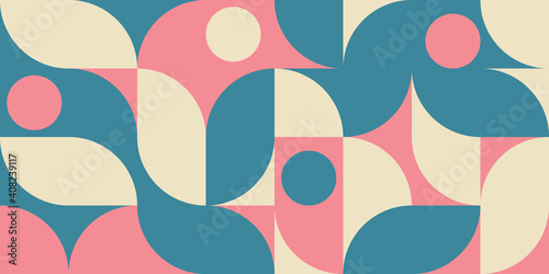 Valokuva Modern vector abstract  geometric background with circles, rectangles and squares  in retro scandinavian style