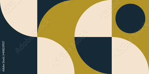 Canvas Print Modern vector abstract  geometric background with circles, rectangles and squares  in retro scandinavian style