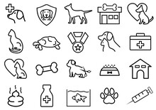 Set Of Pet Related Vector Line Icon. Illustration Pet Shop Symbol. Contains Such Icons As Dog, Cat, Tortois, Bird, Animal Food And More. Editable Stroke.
