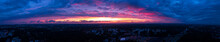 Fiery Panoramic End Of The World Scene. Dramatic Colorful Sunset Over The City Of Helsinki, Finland.