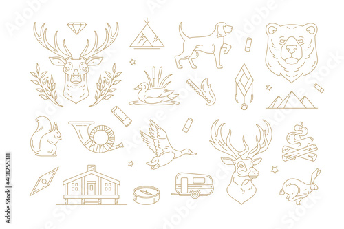 Fotografiet Set of linear vector signs for nature and travel concept