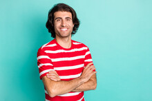 Portrait Of Attractive Cheerful Content Brown-haired Guy Folded Arms Copy Space Isolated Over Bright Green Turquoise Color Background