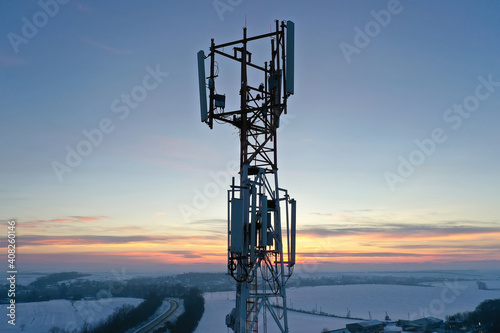 Fotografie, Obraz Telecommunication tower of 4G and 5G cellular