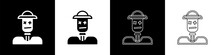 Set Scarecrow Icon Isolated On Black And White Background. Vector.