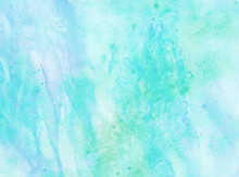 Watercolor Blue Green Abstract Painting With Stains