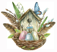Watercolor Illustration Of Awooden Birdhouse With Feathers And Spring Flowers Of Lily Of The Valley And Pussy Willow Branches And Nest From Branches With Colored Eggs Inside.
