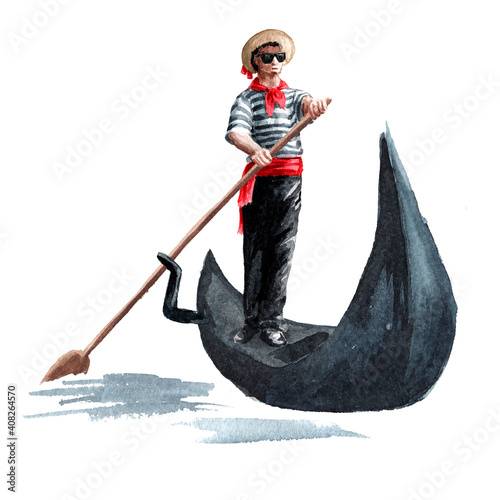 Obraz na plátne Venetian gondolier in traditional clothes, in a gondola with a paddle, Italy, Venice