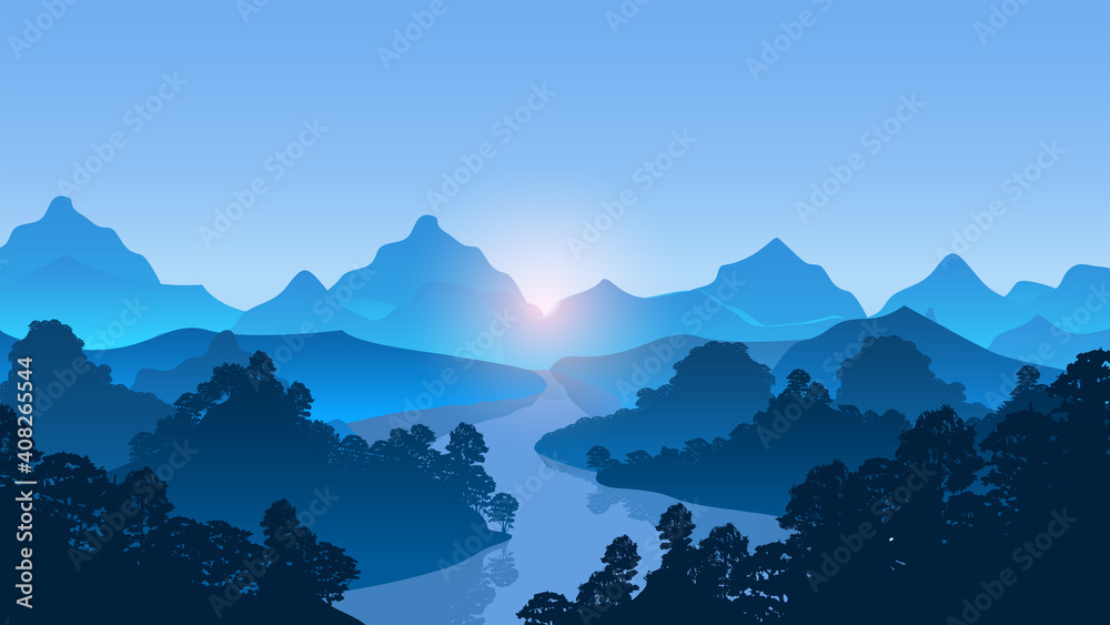 Fototapeta Mountains with river and forest trees landscape vector Illustration.