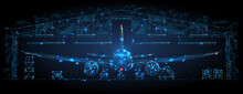 Front View Of An Airplane In A Hangar In Dark Blue. Airplane Maintenance, Aircraft Repair Service Concept. Abstract Polygonal 3d Wireframe Looks Like A Starry Sky. Digital Vector Mesh With Lines