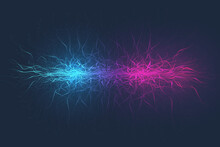 Geometric Abstract Background Expansion Of Life. Colorful Explosion Background With Connected Line And Dots, Wave Flow. Graphic Background Explosion, Motion Burst. Scientific Illustration.