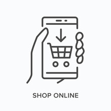 Online Shopping Flat Line Icon. Vector Outline Illustration Of Hand Holding Mobile Phone With Basket On Screen. Black Thin Linear Pictogram For E-commerce