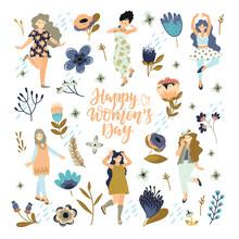Happy Women's Day Illustration. Beautiful Dancing Women
