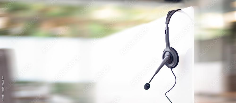 Fototapeta Communication support, call center and customer service help desk. VOIP headset for customer service support (call center) concept