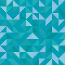 Vector Truchet Geometric Triangle Seamless Pattern Background. Monochrome Backdrop With Random Tiled Triangular And Rhombus Shapes In Hues Of Aqua Blue.Modern All Over Print For Swim Or Sport Fashion