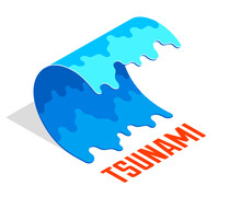 Tsunami Giant Water Ocean Wave Natural Disaster Concept Vector Isometric Illustration Isolated On White Background.