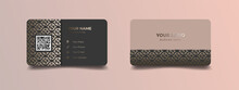Business Card Design With Elegant Pattern. Modern Concept With Golden Decoration Art. Vector Illustration Print Template.