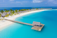 Sea Beach Aerial. Luxury Summer Travel Vacation Landscape. Tropical Beach, Drone View. Beach Villas Bungalows Of Hotel Resort. Perfect Beach Scene Vacation, Summer Holiday Template. Wonderful Nature