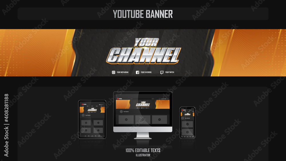 Fototapeta Banner for youtube channel with Gamer concept