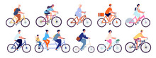 Cyclists Characters. Fun Active Woman, Cyclist Ride Bicycle Outdoor. Fun Leisure, Isolated Happy Girl Rider And Person Bike Utter Vector Set. Bike Sport Exercise, Lifestyle Ride Activity Illustration