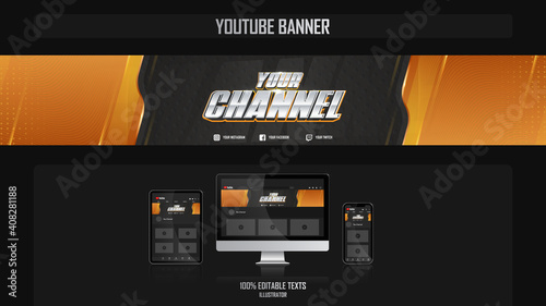 Obraz Banner for youtube channel with Gamer concept - fototapety do salonu