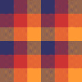 Tartan plaid pattern in blue, red, orange. Herringbone colorful textured checked graphic for flannel shirt, skirt, blanket, throw, duvet cover, or other modern autumn winter fashion textile print. - 408282106