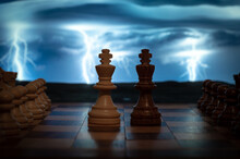 Closeup Shot Of Two Chess Kings Standing Next To Each Other