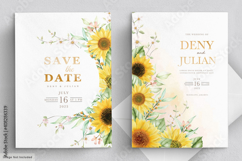 Carta da parati watercolor sunflower invitation card set