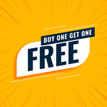Buy One Get One Free Sale Yellow Background
