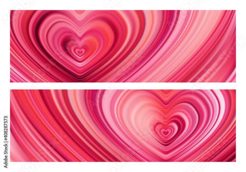 Obraz na płótnie Set of two Modern red flow heart backgrounds