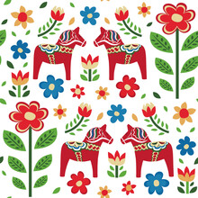 Swedish Dala Horse Pattern Creative Texture For Fabric And Textile