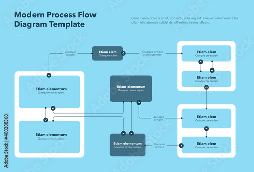 Fototapeta Modern process flow diagram template - blue version