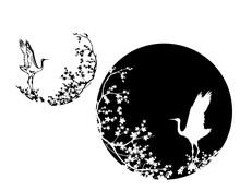 Japanese Crane Standing Among Sakura Blossom Branches - Elegant Asian Bird Black And White Vector Circle Design