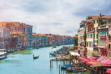 View Of The Gondolas Of The Grand Canal On A Sunny Day In Venice, Italy
