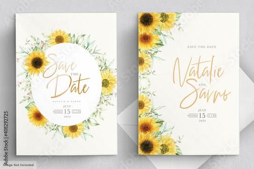 Obraz na plátně watercolor sunflower invitation card set