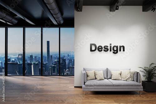 Canvas modern clean office waiting area reception with skyline view, wall with design l