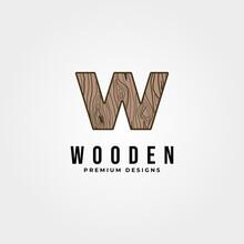 Letter W Wood Work Logo Vintage Vector Illustration Design