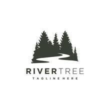 Evergreen Pine Tree With River Creek Logo Design Vector