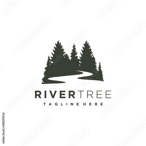 Obraz na plátně Evergreen pine tree with river creek logo design vector