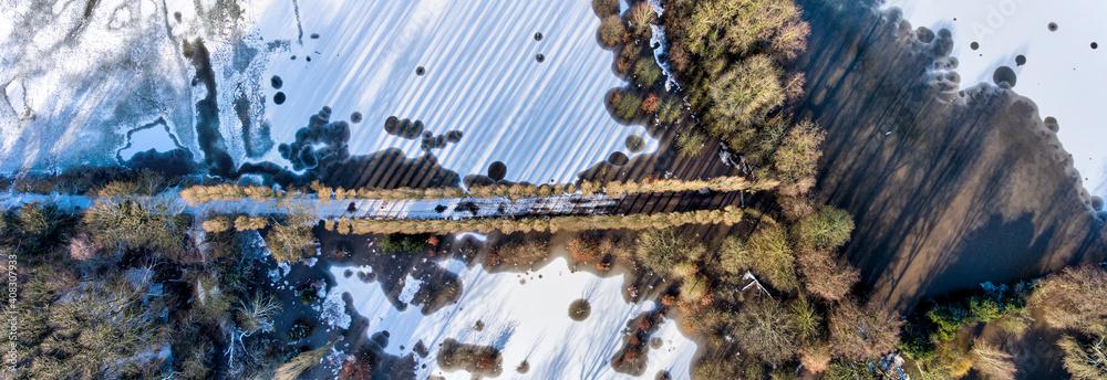Fototapeta Drone photography, Didsbury Fletcher Moss, Fletcher Moss Botanical Garden