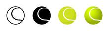 Tennis Ball In Different Designs. Tennis Ball. Sport Concept. Vector Illustration