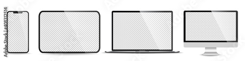 Fototapeta Device screen mockup. Smartphone, tablet, laptop and monoblock monitor, with blank screen for you design. PNG. Vector illustration obraz