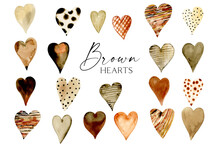 Watercolor Brown Hearts Clipart, Black Lives Matter Clipart, Hand Painted Black Heart Digital Scrapbooking Sublimation Design Valentine Day Hearts, Boho Hearts