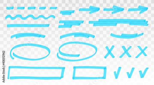 Fényképezés Blue highlighter set - lines, arrows, crosses, check, oval, rectangle isolated on transparent background