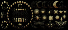 Big Set Of Golden Celestial Elements. Beautiful Gold Pain Celestial: Moons, Stars And Sun, Insects, Butterfly And Plants. Different Moon Phases. High Quality Illustration For Your Design.