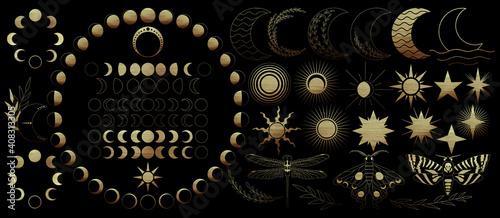 Obraz na plátně Big set of golden celestial elements