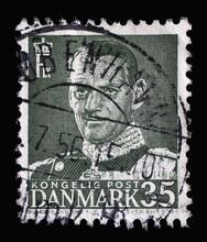 Stamp Printed In Denmark Shows King Frederik IX, Series, Circa 1951